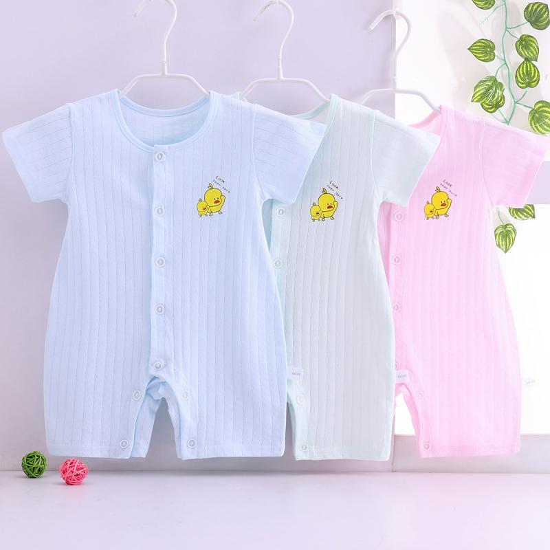 婴儿衣服夏季男宝宝连体衣薄款短袖哈衣2020新生儿女夏装纯棉睡衣