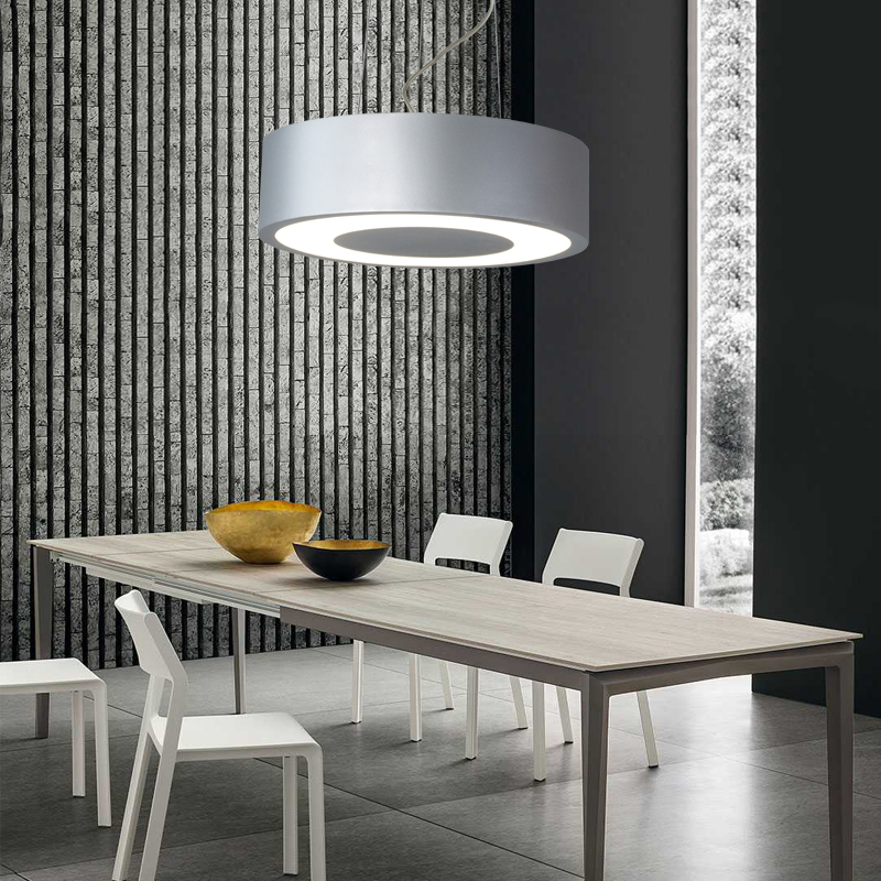 Modern simple LED circle chandelier extremely simple iron ring dining chandelier aisle office meeting room LED light