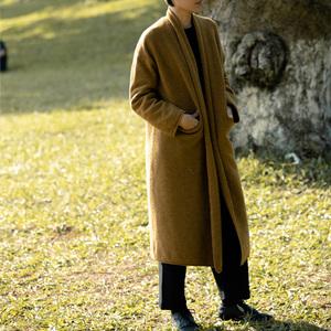 无有善见城 2019秋冬羊毛宽松大衣女中长款外套【秋天的云和叶】
