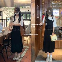 最小的海 韩版打底针织连衣裙女春秋季新款叠穿吊带裙中长半身裙