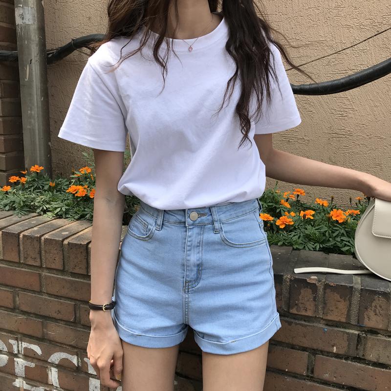 最小的海纯色宽松显瘦白色短袖t恤女ins潮打底上衣2020年新款夏季