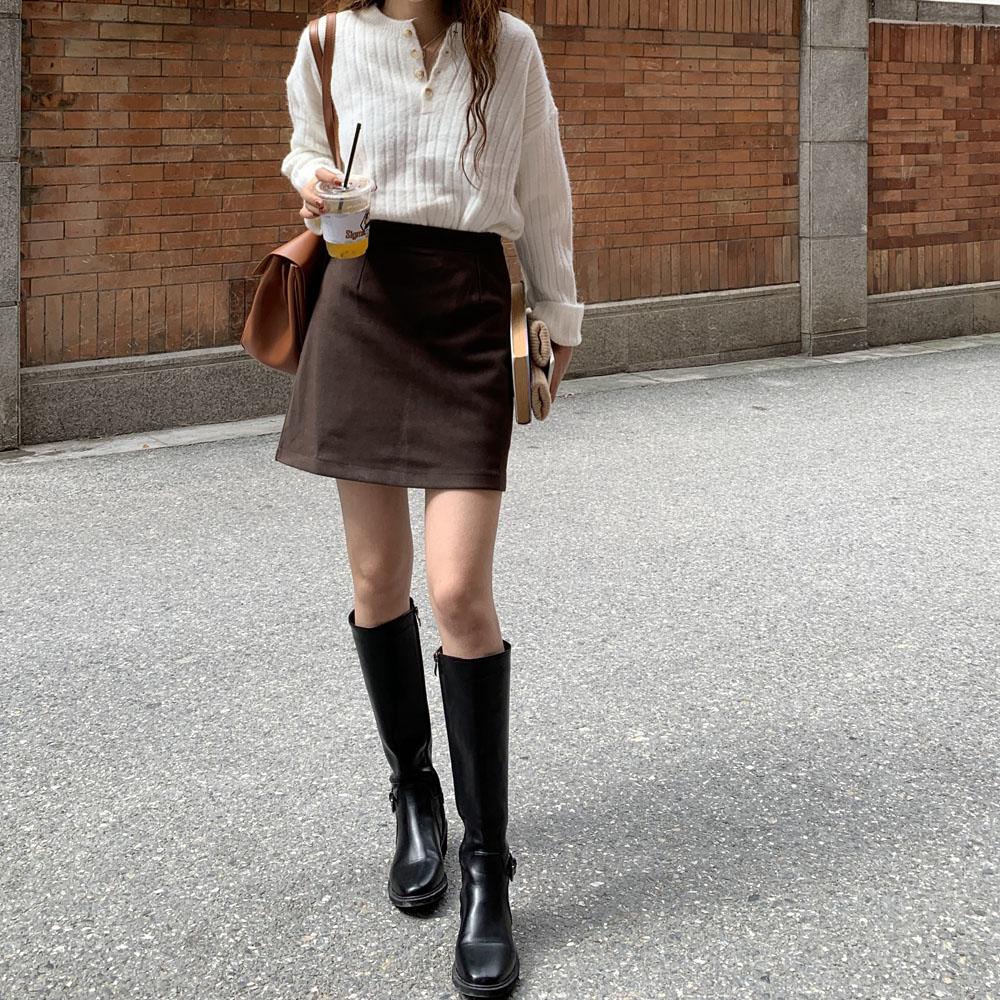 最小的海 韩版高腰a字裙气质复古毛呢短裙显瘦半身裙春款包臂裙女