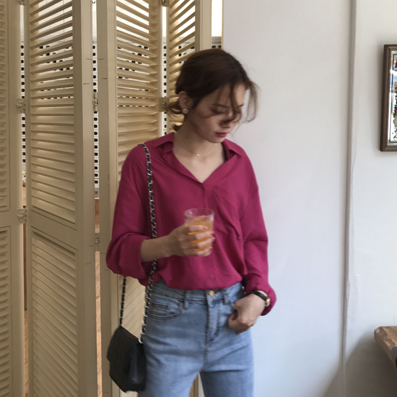 [ELINASEA]小海自制 韩国薄款气质显白长袖轻薄基础宽松衬衫女夏