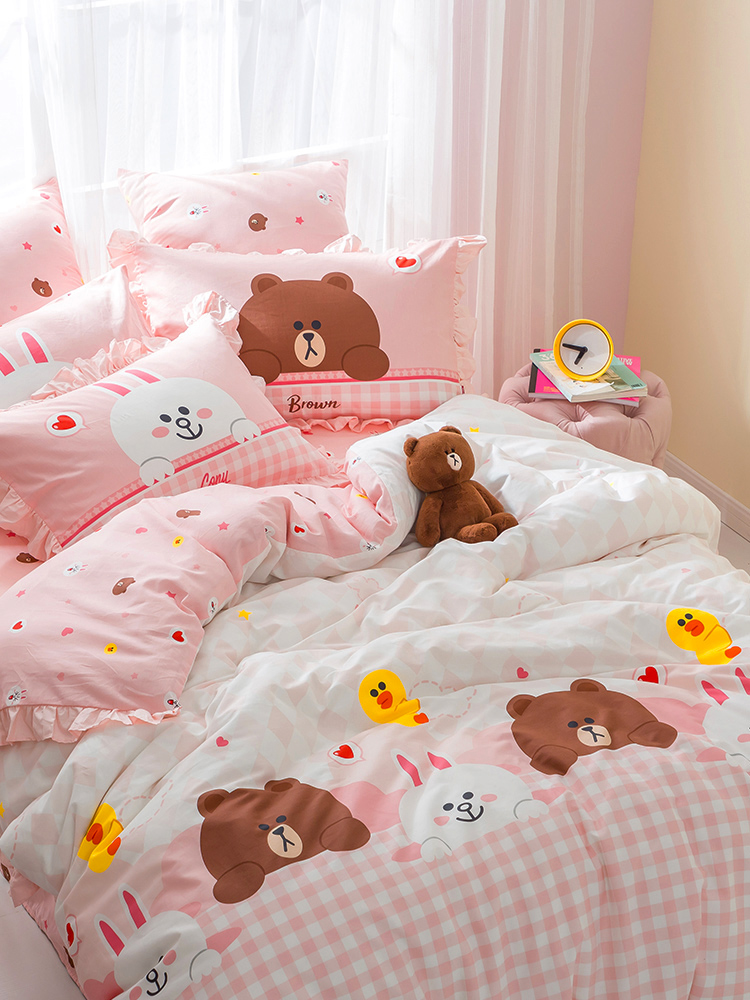 Brown bear cotton 4-piece cotton set pure cotton bed products girl wind lotus leaf quilt cover sheet meet Kenny rabbit y