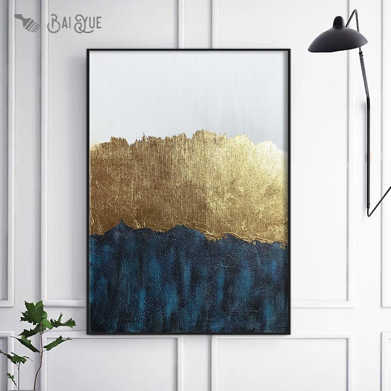 現代抽象金色裝飾畫餐廳原創簡約掛畫輕奢金箔畫入戶玄關手繪油畫