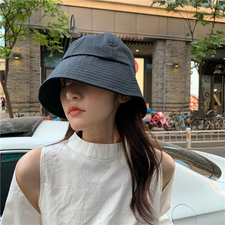 薄款纯色百搭水桶ins渔夫帽女日系夏网红大帽檐遮阳防晒UV盆帽子