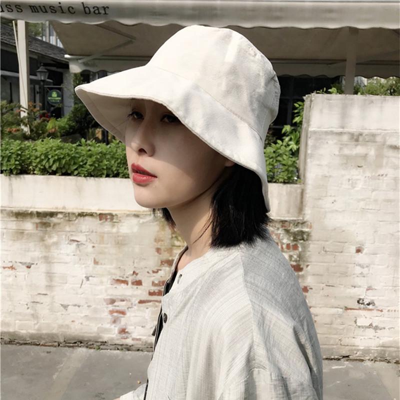 渔夫帽女夏天日本防晒帽纯色百搭日系文艺潮薄款网红太阳遮阳帽子