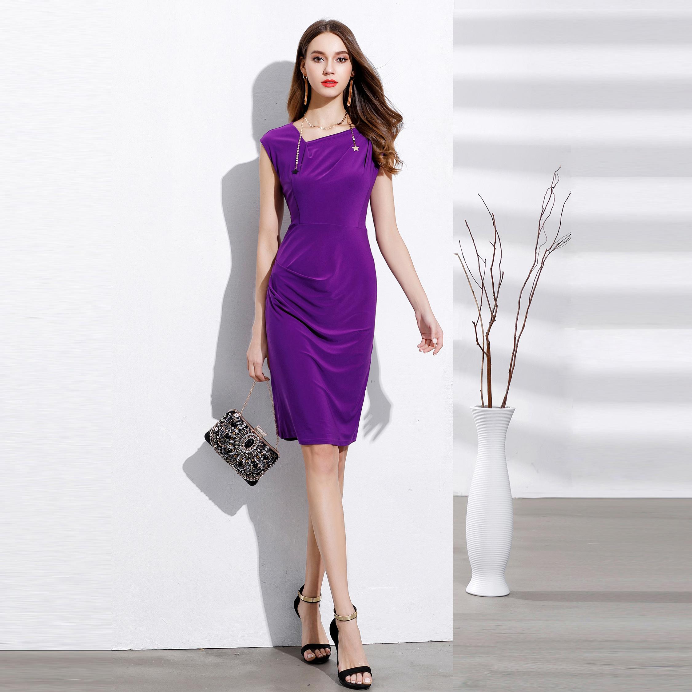 RL品牌女装设计感OL通勤包肩斜领抽褶修身显瘦印花连衣裙大码C384