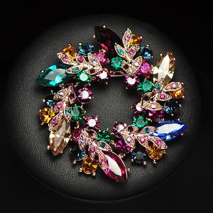 三八婦女節水晶胸針大衣配飾紫荊花朵韓國飾品胸花別針女花環插針