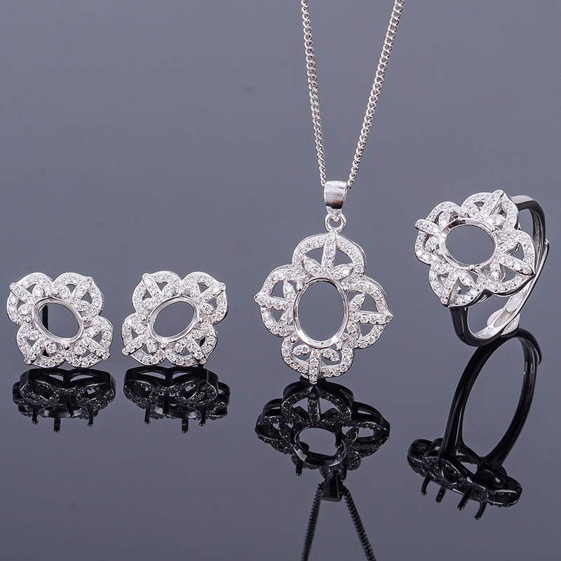 925 Silver Chain Ring Necklace Earrings three pieces of jewelry t88 set empty support 6 * 8 5 * 7 7 * 9mm