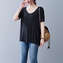【110-320斤】大码夏季韩版简约坑条高弹力短袖V领纯色T恤女200斤