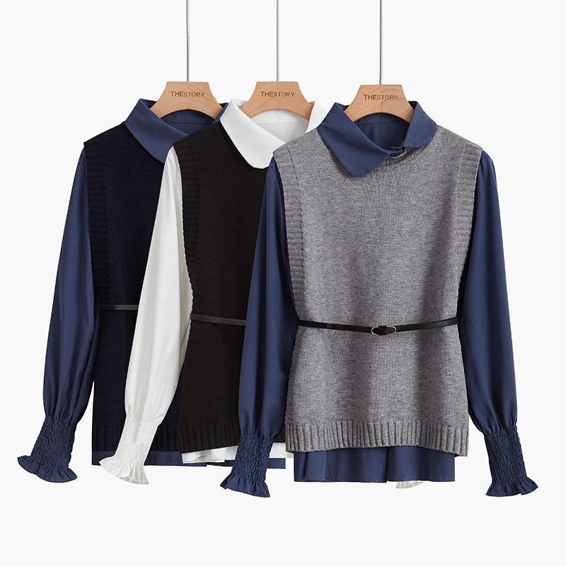 (用130元券)娃娃领衬衫加背心两件套秋装毛衣马甲针织坎肩衬衣套装2019新款女