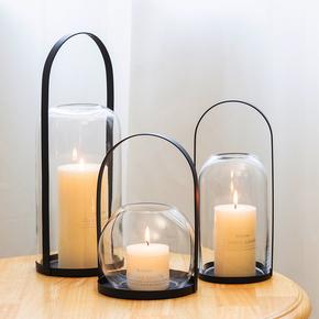 烛台摆件北欧浪漫创意铁艺样板间西餐厅香薰玻璃罩烛光晚餐道具灯