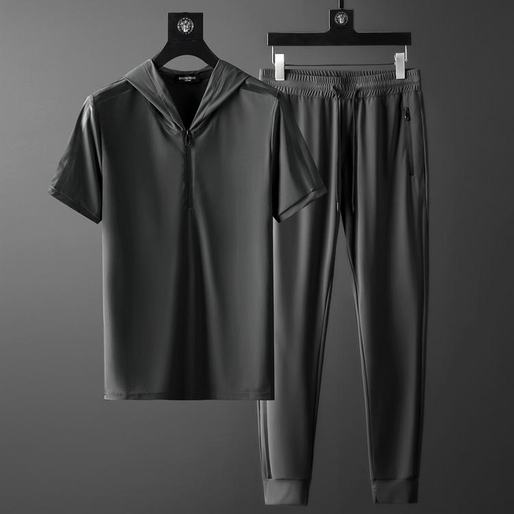 夏季冰丝套装男 超薄透气丝滑四面弹布料压胶半拉链t恤连帽两件套