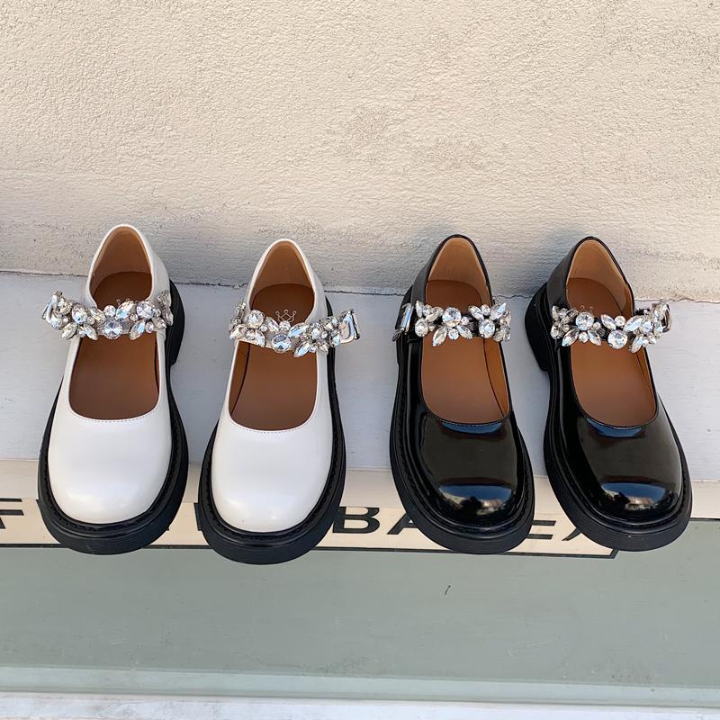 水钻玛丽珍鞋复古单鞋2021新款英伦风厚底一字扣低跟jk制服小皮鞋