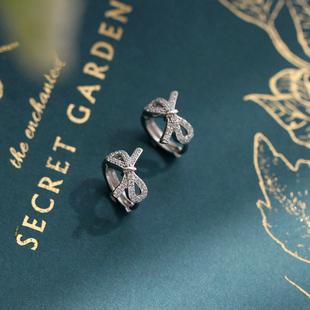 925纯银轻奢闪亮水钻蝴蝶结耳圈气质小众设计感耳扣优雅耳环耳饰