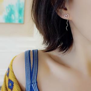 小Z优品925纯银镂空磨砂爱心形耳线精致日韩少女心可爱桃心耳钉仙