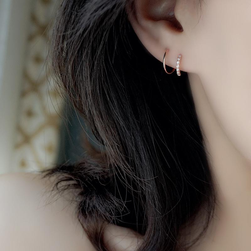 小z优品双层s925纯银耳环女耳钉