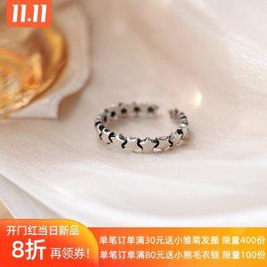 复古星星开口戒指女925纯银时尚个性ins冷淡风小众设计感简约指环