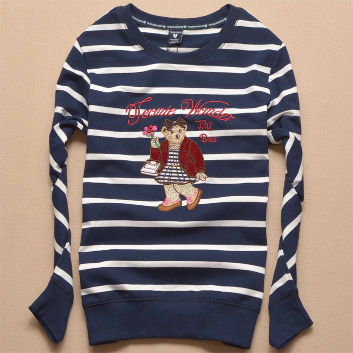 New spring bear embroidered sports round neck sweater student leisure pure cotton bottomed shirt striped thin coat
