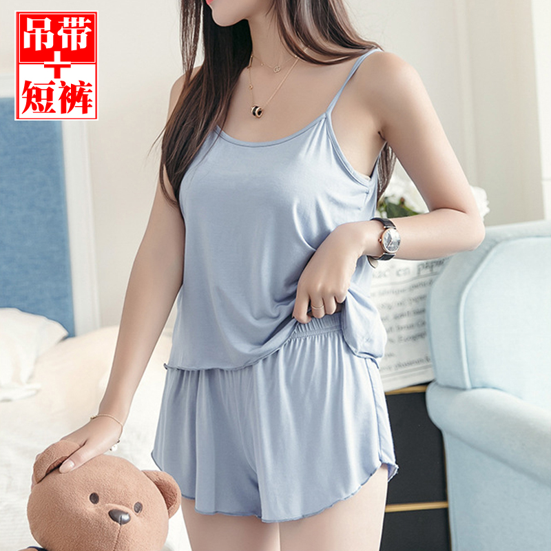Light proof safety primer womens summer suit modal sexy home wear suspender shorts loose pajamas two piece set