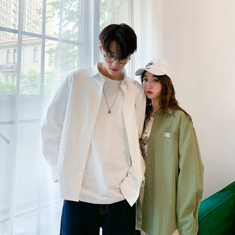 Summer 2019 new mens long sleeve shirt Hong Kong Style loose casual couple shirt trendy all over solid top