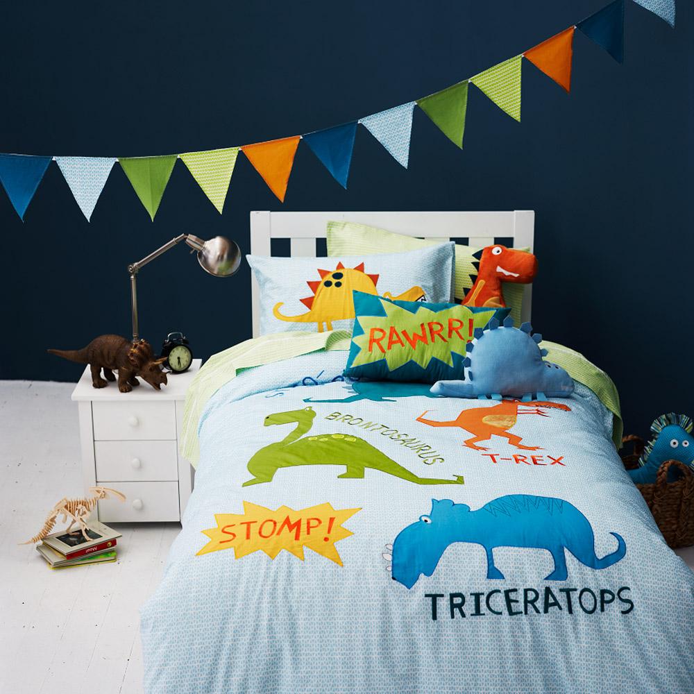 QQ динозавр детей набор из трех односпальную кровать двуспальная кровать одеяло крышка наволочки, лоскутное одеяло