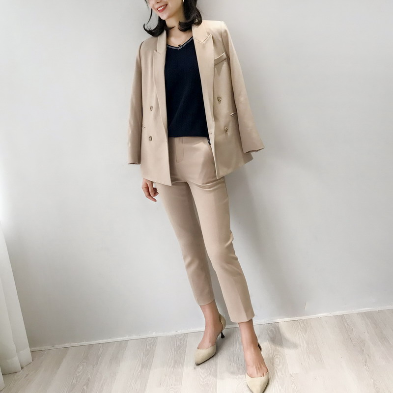 083102职场御姐高品质西装套装双排扣西装+修身长裤九分裤 3色入G