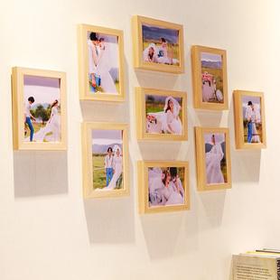 小清新北欧 九宫格冲印照片北欧照片墙9个7寸相框组合相框墙9宫格