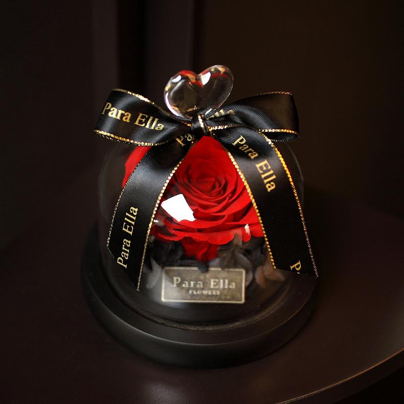 永生花玻璃罩保鲜花玫瑰花-宠爱一生系列桑妮花艺火烈鸟带灯