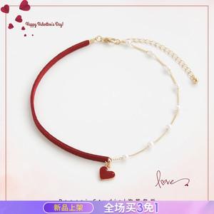 怦然心动 原创情人节礼物红色爱心颈链锁骨链颈带网红项链c