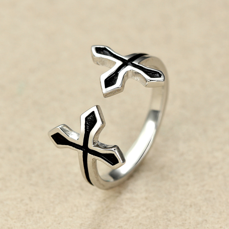 925 Sterling Silver Ring for men and women lovely to me her rain cross ring open Sterling Silver Ring