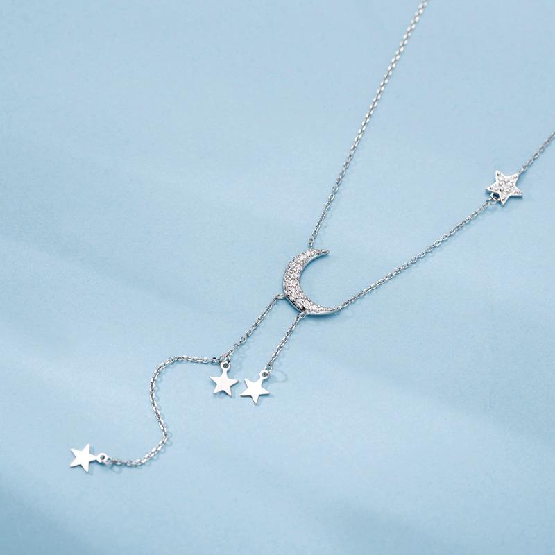 925纯银镶钻项链 星星月亮流苏项链简约网红森系纯银项链锁骨短链