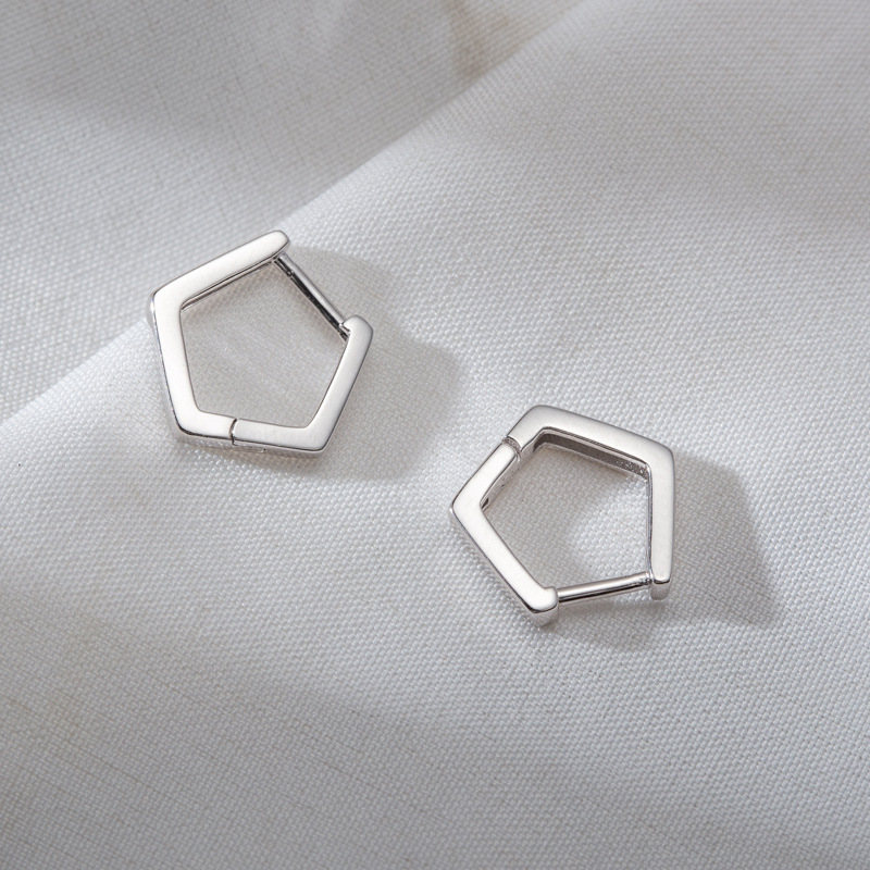 925 Sterling Silver womens Earrings simple style geometric hexagon design sense earring buckle womens Sterling Silver Earrings
