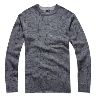 Men s sweater men s genuine cut standard round neck sweater bottoming sweater HSWD0L037 gray
