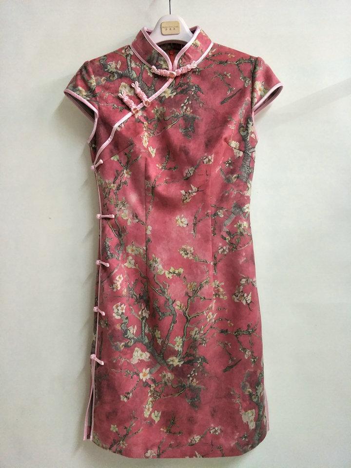 专柜正品梦至超2017新款冬装M17Y1128婉约甜美修身短款花色旗袍裙