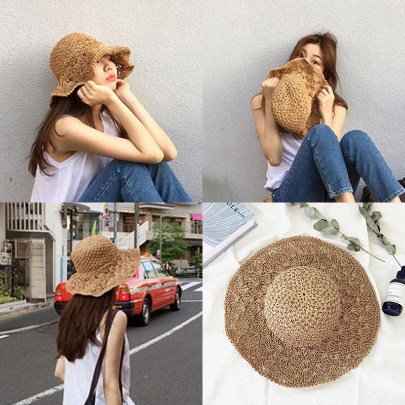 Большие модули горячей складные песчаный пляж большой прилегает к соломенная шляпа женщина лето дикий свежий приморский праздник солнцезащитный крем затенение шляпа
