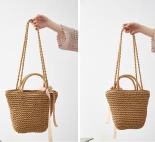 網紅同款 日系度假風夏季草編包旅游沙灘單肩手提水桶編織包包女