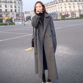 毛呢外套女中长款2020秋冬新款赫本流行宽松过膝灰色加厚呢子大衣