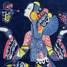 广西少数民族手工艺 蜡染艺术壁挂100*85cm 茶楼酒吧客栈装饰挂件