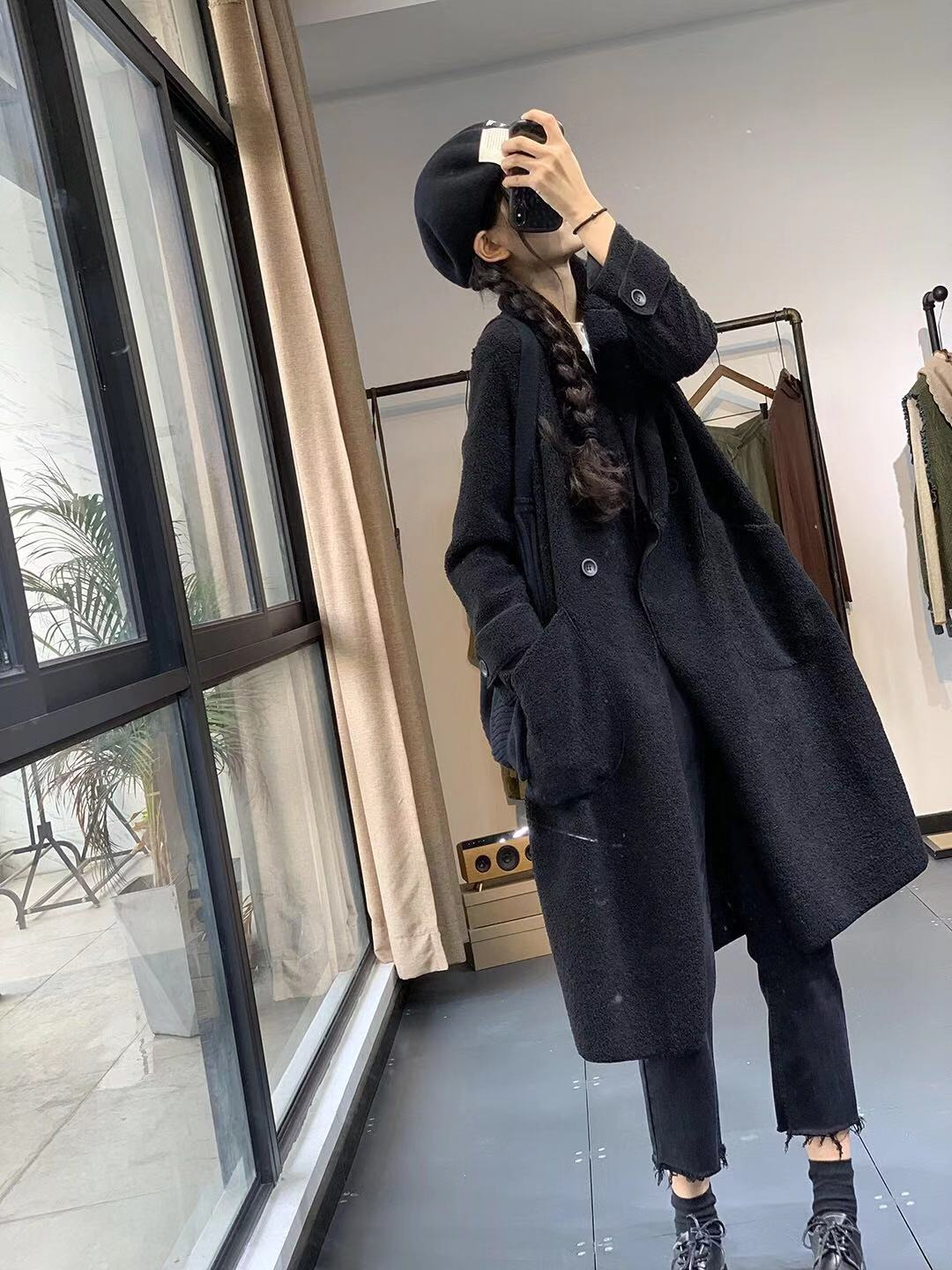 Autumn and winter new fur one suit Lapel loose version medium and long thin casual coat womens coat