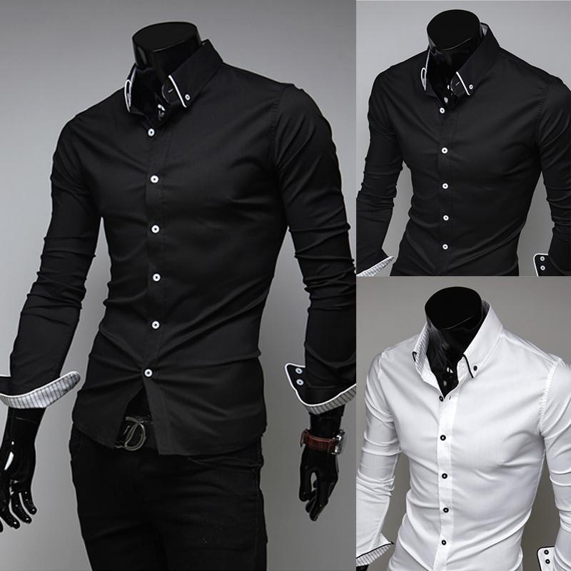 весной 2015 новый мужской Стильный тонкий досуг рубашка с длинным рукавом мужская рубашка полосы выложены