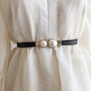 法式 单品韩风气质复古珍珠扣腰封毛衣外套挂钩腰带松紧弹力腰带女