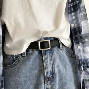 布丁和夏天韩版新款皮带chic无孔复古风长方形银色哑光扣头女腰带