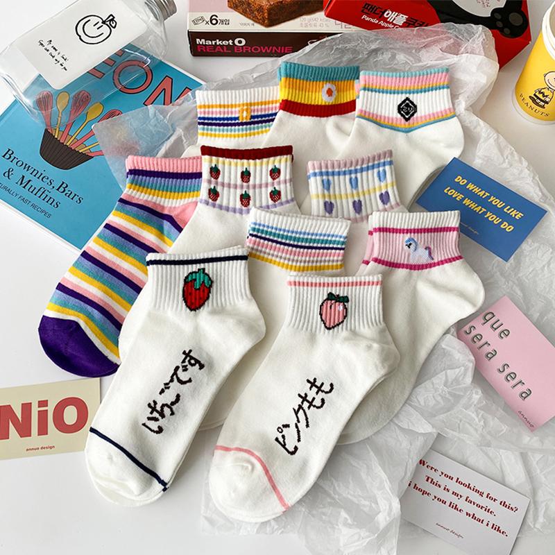 草莓袜子女短袜纯棉浅口ins潮春夏季薄款韩国日系可爱网红短筒袜