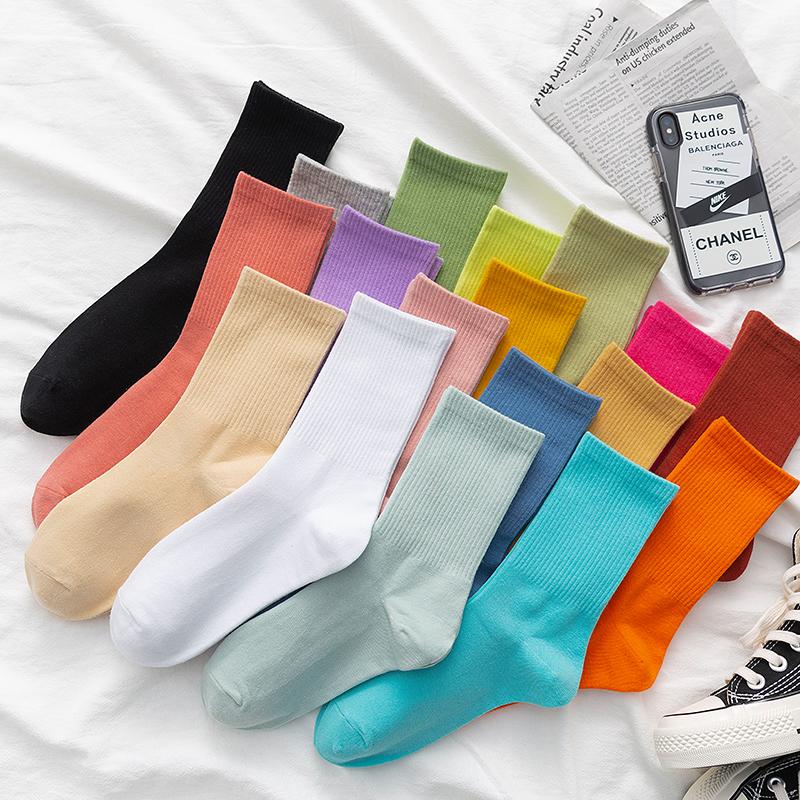 彩色袜子女中筒袜ins潮夏季薄款纯棉纯色长袜糖果色堆堆袜女高筒