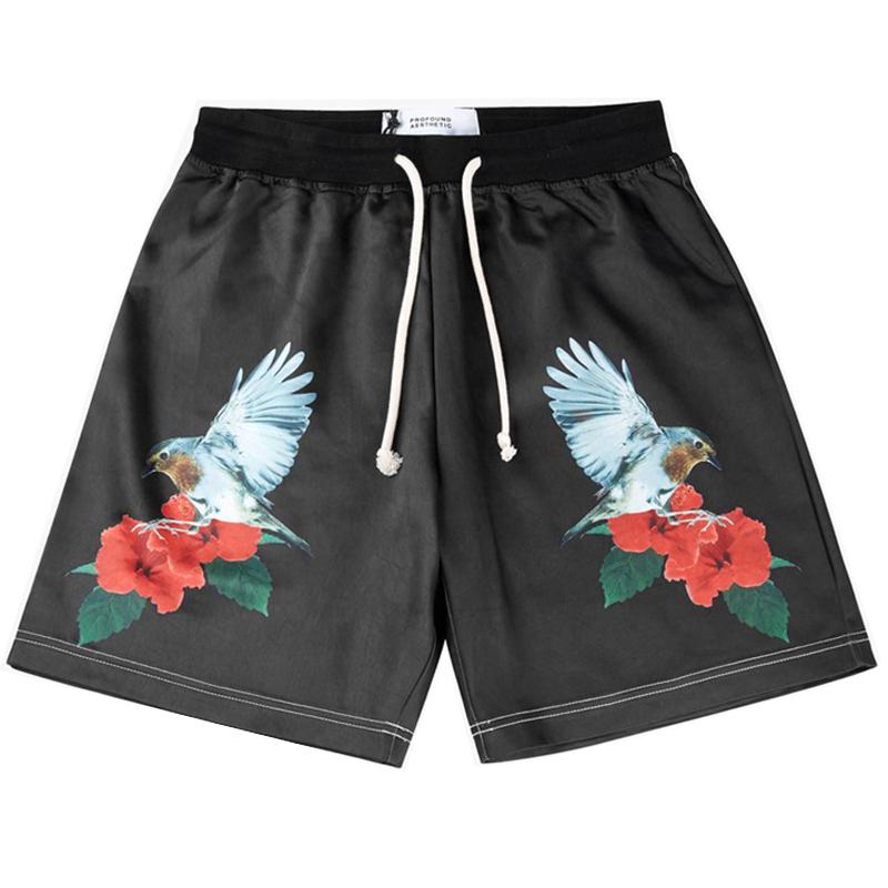 profound aesthetic Hummingbird Rose蜂鸟花卉 绸缎面 四分 短裤