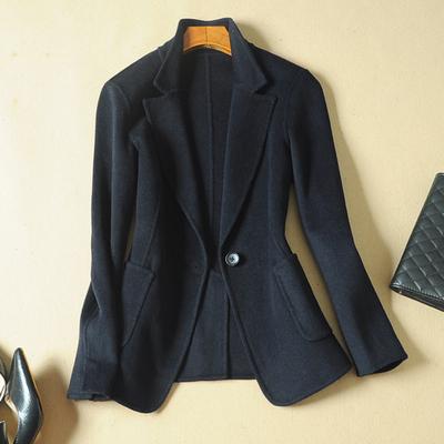 2020春秋新款双面羊毛呢子西装外套女短款韩版修身显瘦小西服上衣