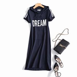 夏季短袖卫衣裙女中长款连帽韩版休闲大码显瘦棉质过膝t恤连衣裙