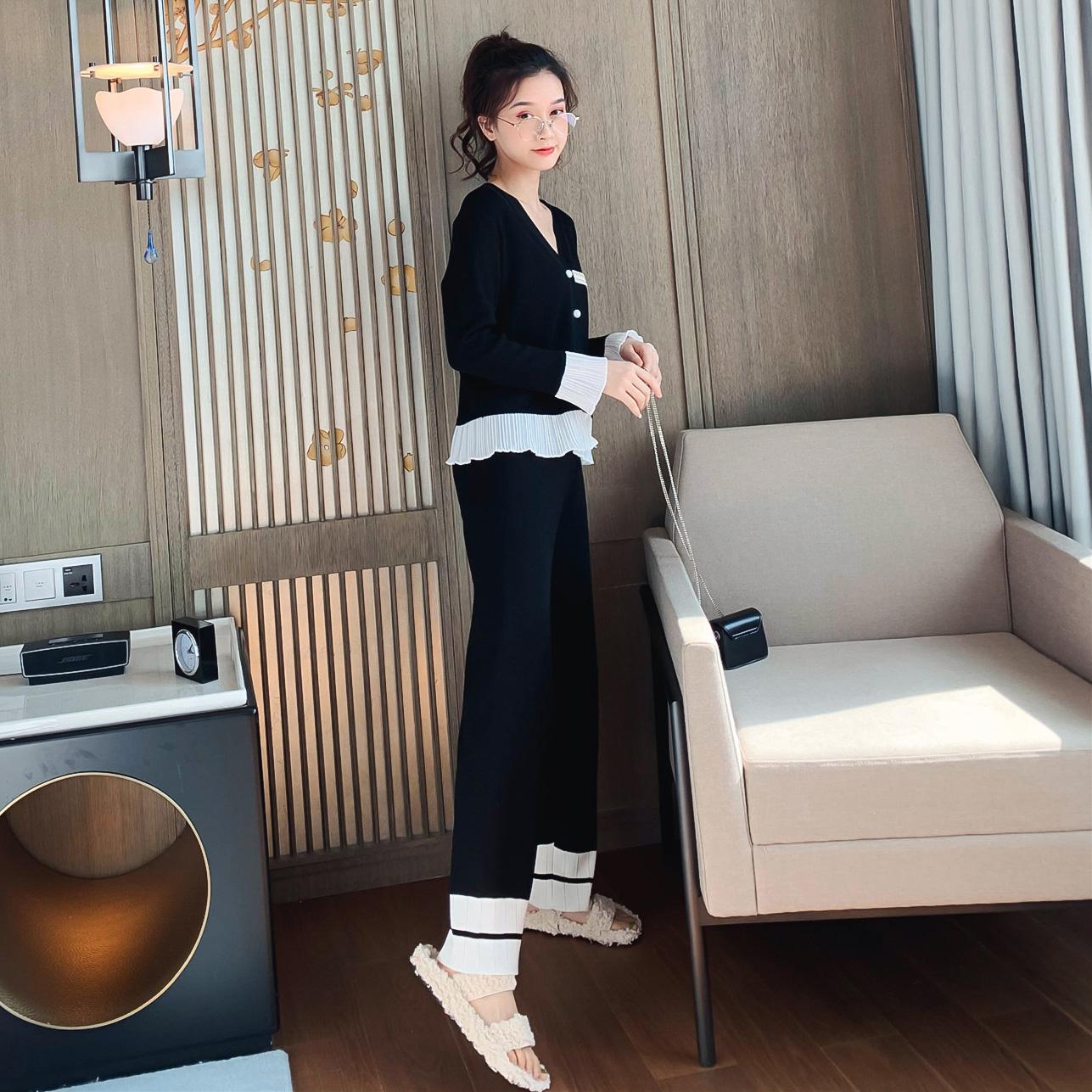 针织套装秋季2019新款韩版雪纺拼接限3000张券